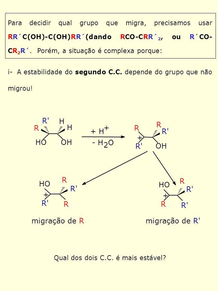 ii- As vezes, o grupo que migra é aquele que participa como grupo vizinho: + OTs H Me Ph Me * refluxo Me Ph Me * migração de fenila (desloca o Tosilato) * Ph Me H H H H + migração de metila * Me Ph Me migração de fenila * Me Ph Me Explicar a seguinte seqüência de aptidão de migração para a rearranjo pinacol-pinacolona de XPhCH(OH)-CH2OH.