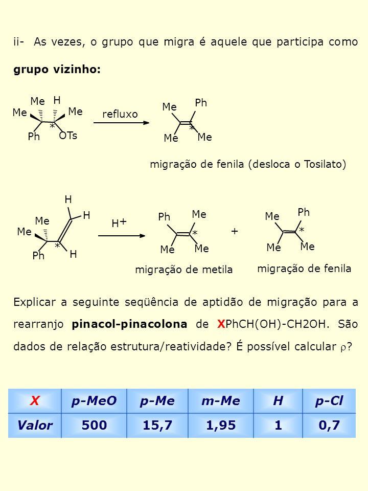 REAÇÕES I- Rearranjos Moleculares para Carbono Deficiente em Elétrons 1- Sem mudança do Esqueleto Carbônico Exemplo 1: Rearranjo com deslocamento 1,2 de hidreto H 3 C H H + H CH 3 H H H + Ph CH 3 H H 3 C 3 OH FSO 3 H SbF 5 CH 3 + H Ph CH 3 H + H H 3 C Ph C.C.