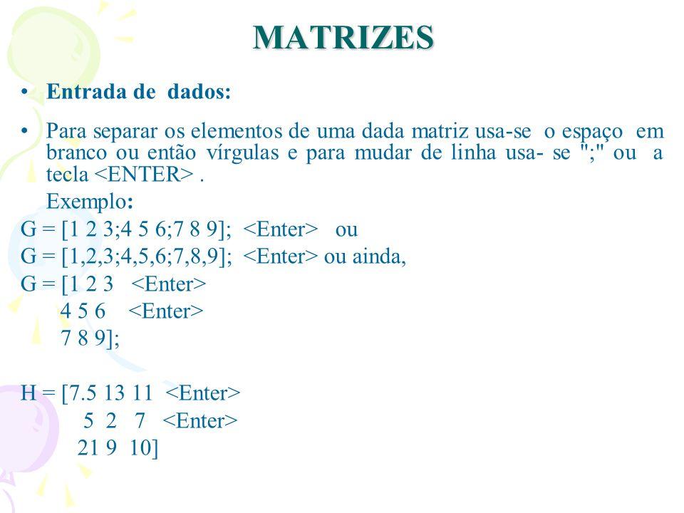 MATRIZES Entrada de dados: Para separar os elementos de uma dada matriz usa-se o espaço em branco ou então vírgulas e para mudar de linha usa- se