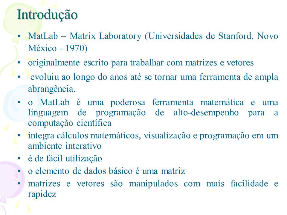 Introdução MatLab – Matrix Laboratory (Universidades de Stanford, Novo México - 1970) originalmente escrito para trabalhar com matrizes e vetores evol