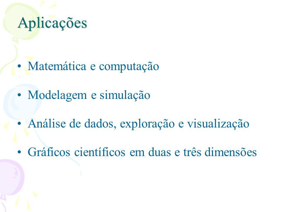 Aplicações Matemática e computação Modelagem e simulação Análise de dados, exploração e visualização Gráficos científicos em duas e três dimensões