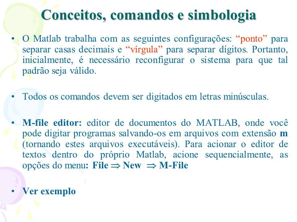 Conceitos, comandos e simbologia O Matlab trabalha com as seguintes configurações: ponto para separar casas decimais e vírgula para separar dígitos. P