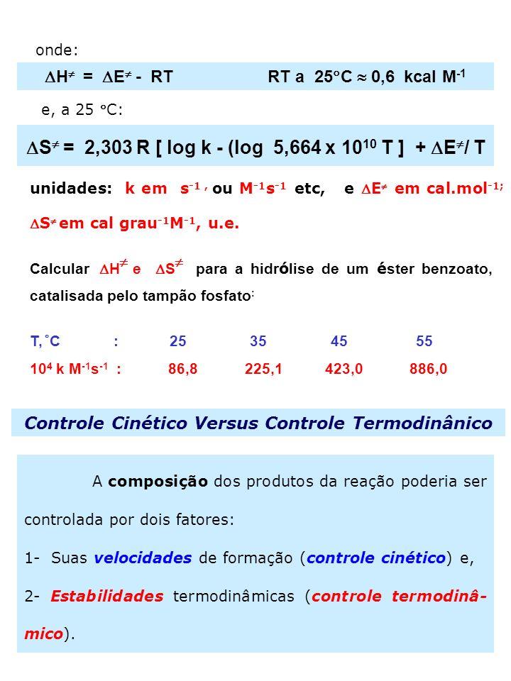 12 onde: H = E - RT RT a 25 C 0,6 kcal M -1 e, a 25 C: S = 2,303 R [ log k - (log 5,664 x 10 10 T ] + E / T unidades: k em s -1, ou M -1 s -1 etc, eE