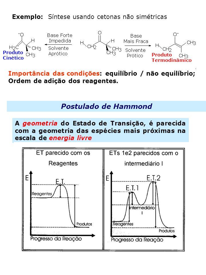 16 Exemplo: Síntese usando cetonas não simétricas Produto Cinético Produto Termodinâmico Postulado de Hammond A geometria do Estado de Transição, é pa