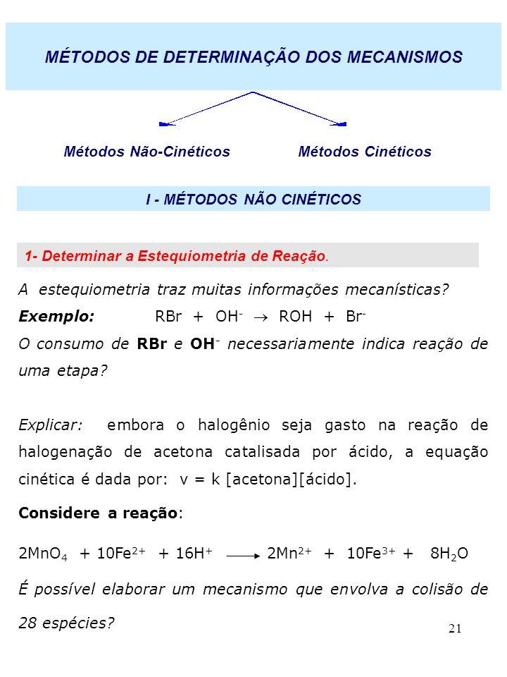 21 MÉTODOS DE DETERMINAÇÃO DOS MECANISMOS Métodos Não-Cinéticos Métodos Cinéticos I - MÉTODOS NÃO CINÉTICOS 1- Determinar a Estequiometria de Reação.