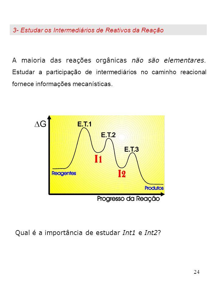 24 Qual é a importância de estudar Int1 e Int2? A maioria das reações orgânicas não são elementares. Estudar a participação de intermediários no camin