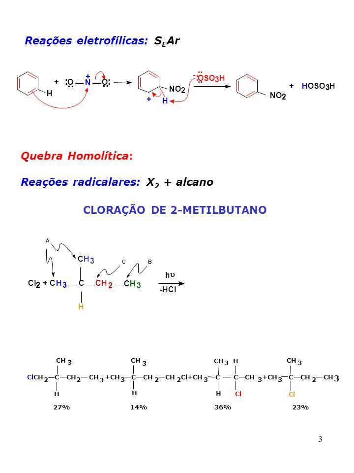 34 b) Ativante do HNO 3 via protonação 2H 2 SO 4 + HO-NO 2 2HSO 4 - + NO 2 + + H 3 O + Dado complementar: Raman de solução de HNO 3 em H 2 SO 4 mostrou pico em 1400 cm -1 (espécie triatômica linear).