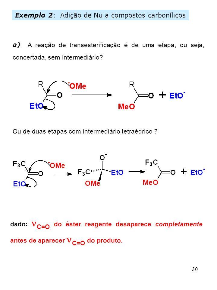 30 Ou de duas etapas com intermediário tetraédrico ? dado: C=O do éster reagente desaparece completamente antes de aparecer C=O do produto. Exemplo 2: