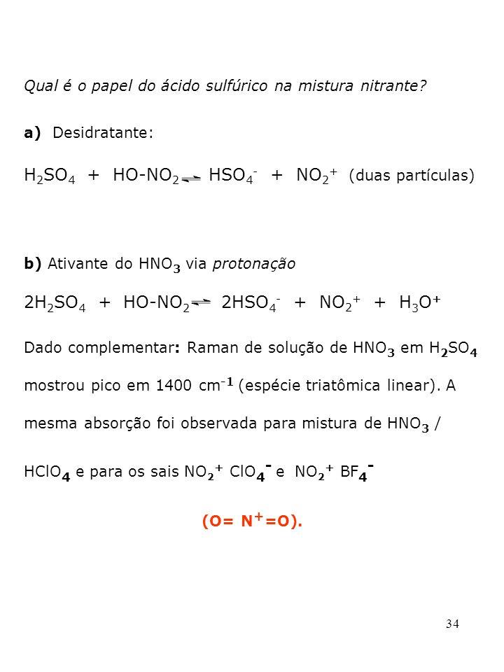34 b) Ativante do HNO 3 via protonação 2H 2 SO 4 + HO-NO 2 2HSO 4 - + NO 2 + + H 3 O + Dado complementar: Raman de solução de HNO 3 em H 2 SO 4 mostro