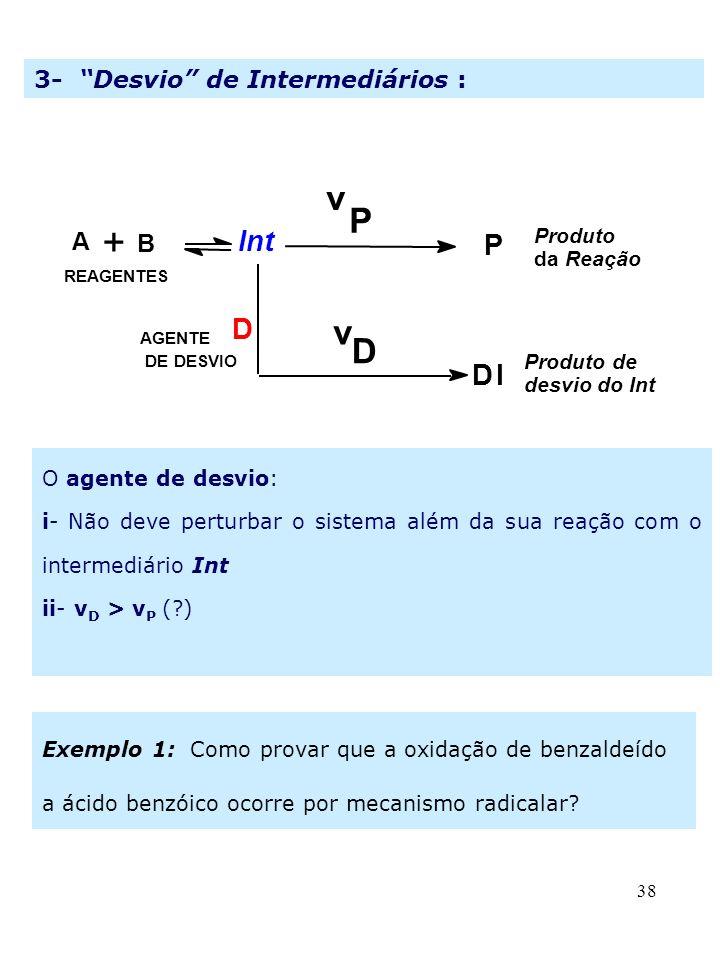 38 3- Desvio de Intermediários : A B Int P + DI P v v D Produto da Reação REAGENTES Produto de desvio do Int AGENTE DE DESVIO D O agente de desvio: i-