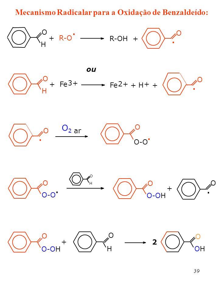 39 O H + R-O. R-OH +. O O. + Fe 3+ H O Fe 2+ + H + + ou. O2O2 ar O-O O O. O O-OH. O H O + + O H O 2 OHOH O O. Mecanismo Radicalar para a Oxidação de B