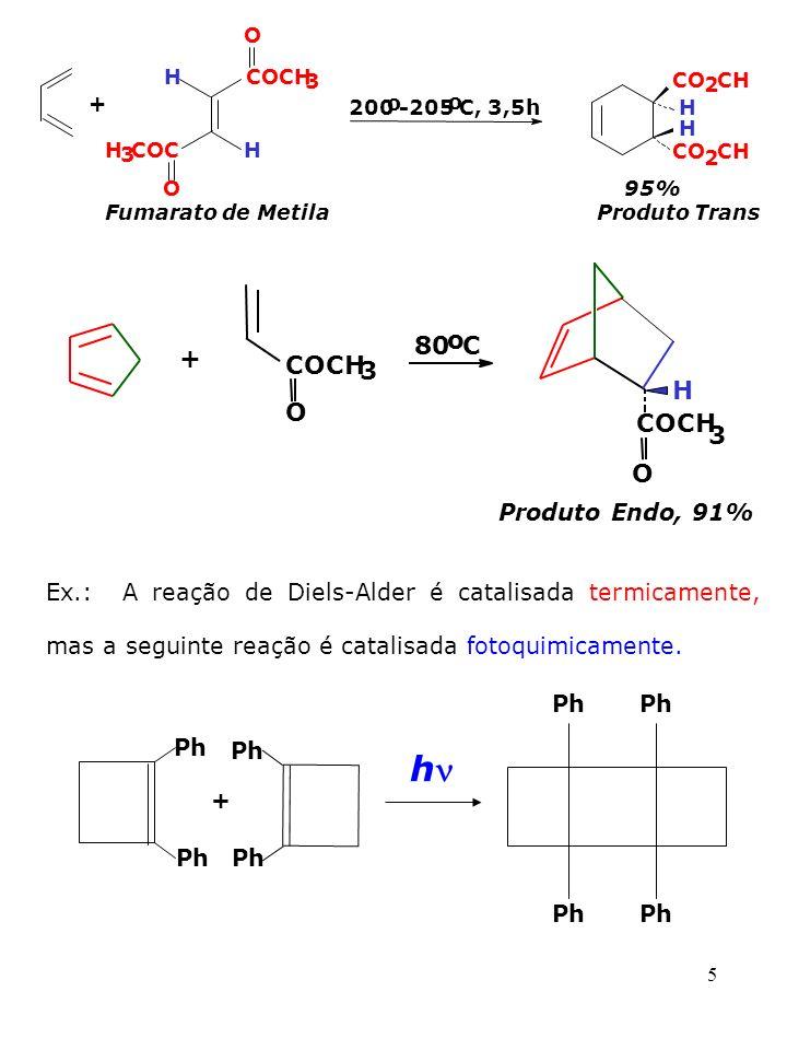 5 Ex.: A reação de Diels-Alder é catalisada termicamente, mas a seguinte reação é catalisada fotoquimicamente. Ph + h + H O COCH 3 O 200 o -205 o C, 3