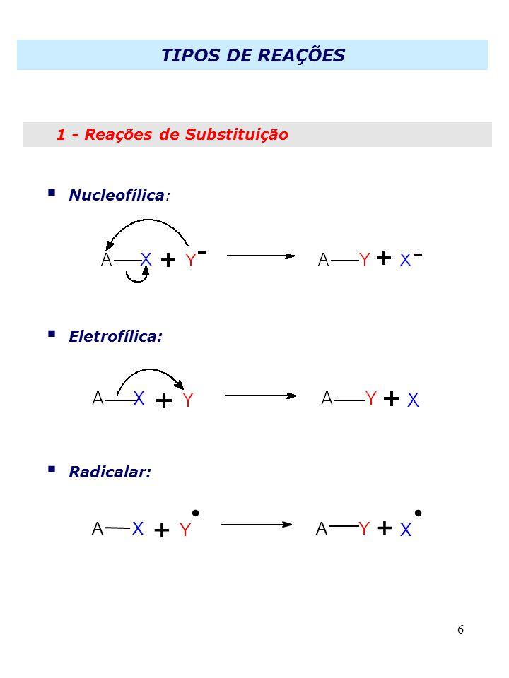6 1 - Reações de Substituição Nucleofílica: Eletrofílica: Radicalar: XA + Y + AY X.. TIPOS DE REAÇÕES