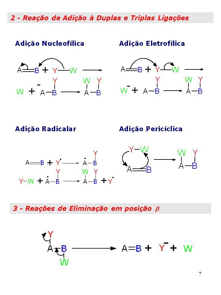 8 4 - Rearranjos Moleculares Rearranjo Nucleofílico: migração de par de elétrons Rearranjo Radicalar: migração de um elétron Rearranjo Eletrofilico: sem elétrons (raro) 5 - Combinação dos Mecanismos 1 A 5 Escrever os mecanismos e classificar as etapas principais das reações a seguir: a) Ciclo-hexeno + HBr, na presença de ROOR b) CH 3 O-C 6 H 4 -CH(CH 3 )Br + H 2 O/ c)1,2-dimetil-ciclopenteno+(BH 3 ) 2 produto+ H 2 O 2 /OH - d) 2,3-di-hidropirano + CH 3 OH/H +