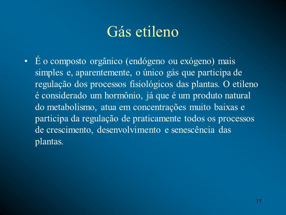 Gás etileno É o composto orgânico (endógeno ou exógeno) mais simples e, aparentemente, o único gás que participa de regulação dos processos fisiológic