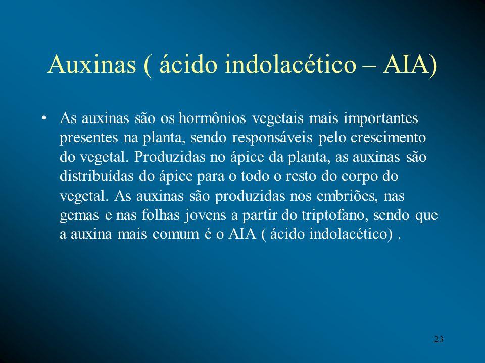 Auxinas ( ácido indolacético – AIA) As auxinas são os hormônios vegetais mais importantes presentes na planta, sendo responsáveis pelo crescimento do