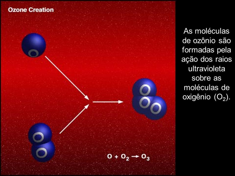 As moléculas de ozônio são formadas pela ação dos raios ultravioleta sobre as moléculas de oxigênio (O 2 ).