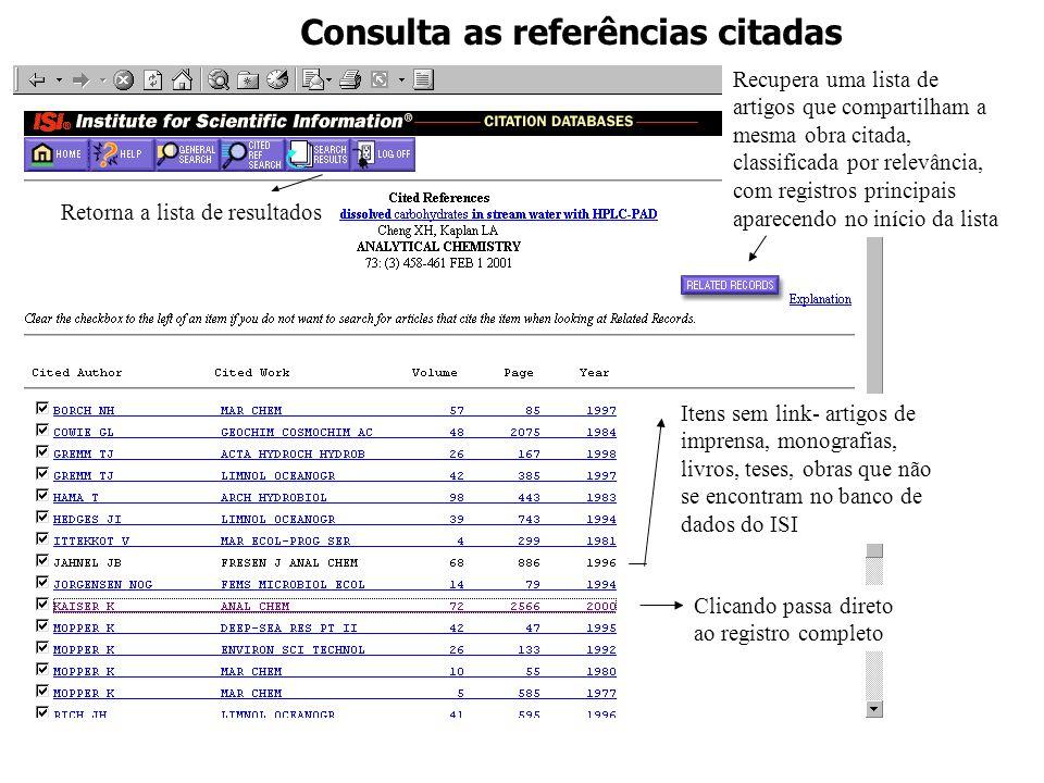 Consulta as referências citadas Clicando passa direto ao registro completo Itens sem link- artigos de imprensa, monografias, livros, teses, obras que