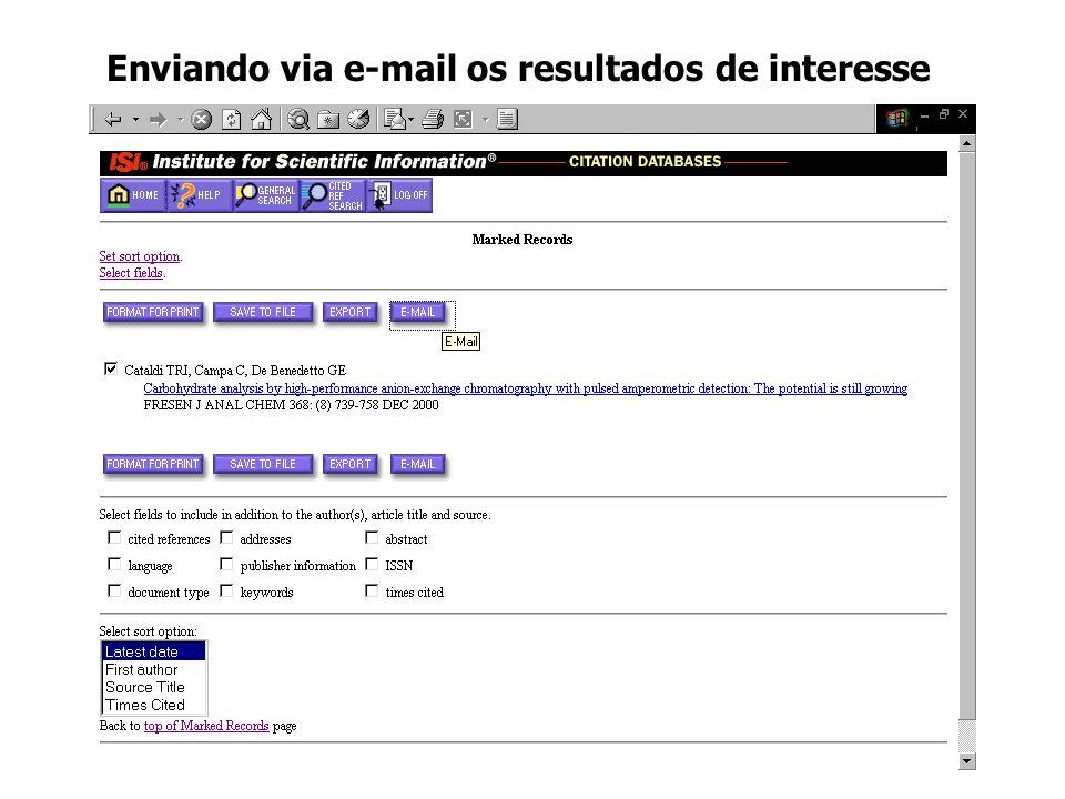 Enviando via e-mail os resultados de interesse