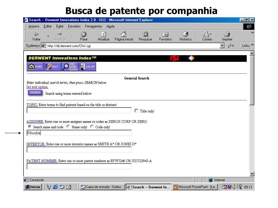 Busca de patente por companhia