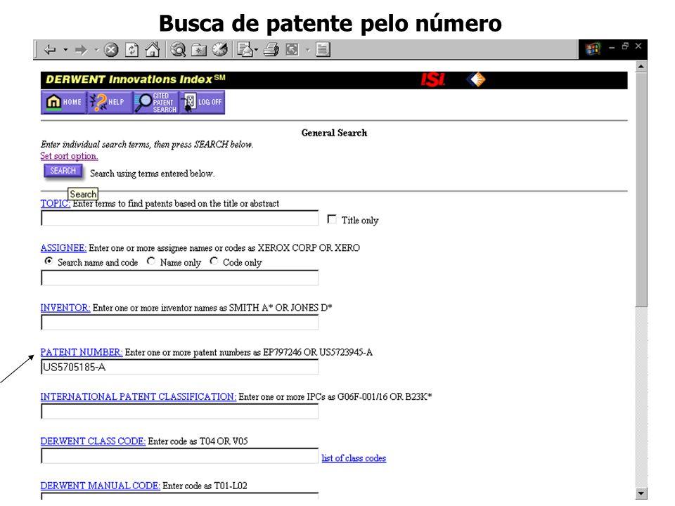 Busca de patente pelo número