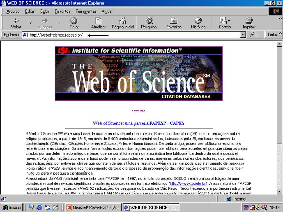 Página na Internet para levantamento de artigos da Web Pesquisa completa Nova informação sobre a Web of Science