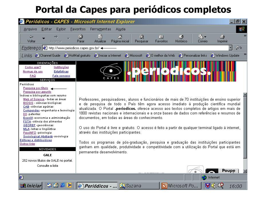 Portal da Capes para periódicos completos