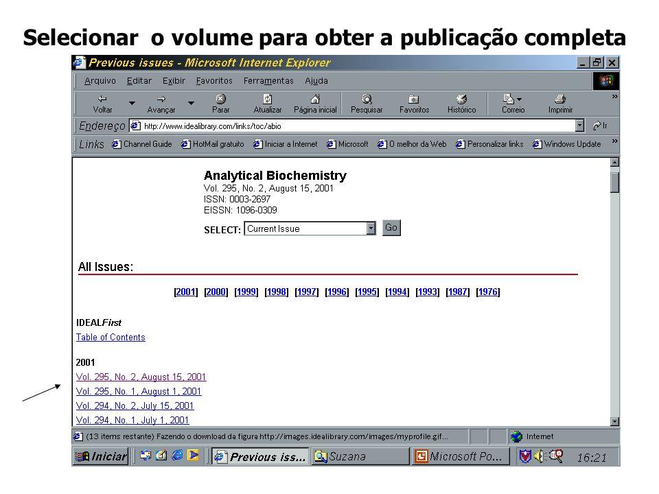 Selecionar o volume para obter a publicação completa