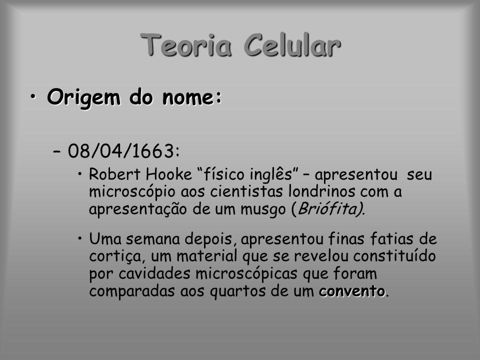 Teoria Celular Células:Células: –Do inglês cells.