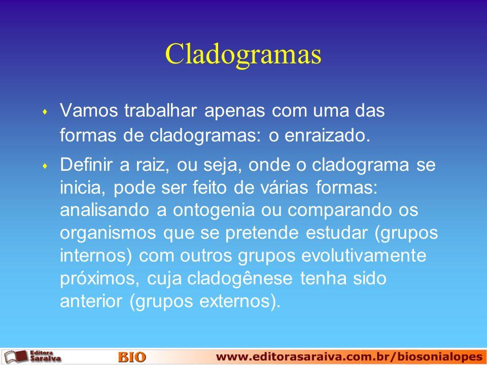 Cladogramas s Vamos trabalhar apenas com uma das formas de cladogramas: o enraizado. s Definir a raiz, ou seja, onde o cladograma se inicia, pode ser
