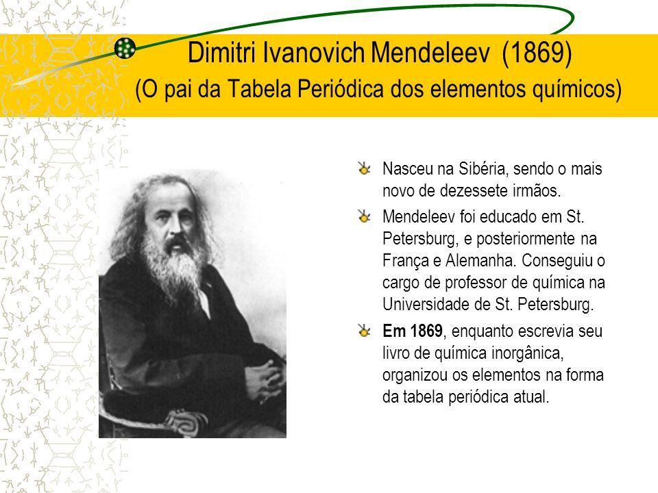 Dimitri Ivanovich Mendeleev (1869) (O pai da Tabela Periódica dos elementos químicos) Nasceu na Sibéria, sendo o mais novo de dezessete irmãos. Mendel