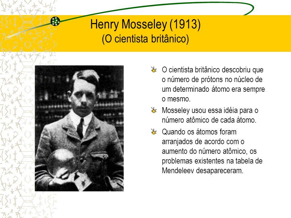 Henry Mosseley (1913) (O cientista britânico) O cientista britânico descobriu que o número de prótons no núcleo de um determinado átomo era sempre o m