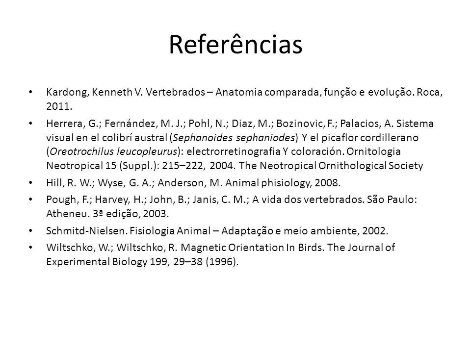 Referências Kardong, Kenneth V.Vertebrados – Anatomia comparada, função e evolução.