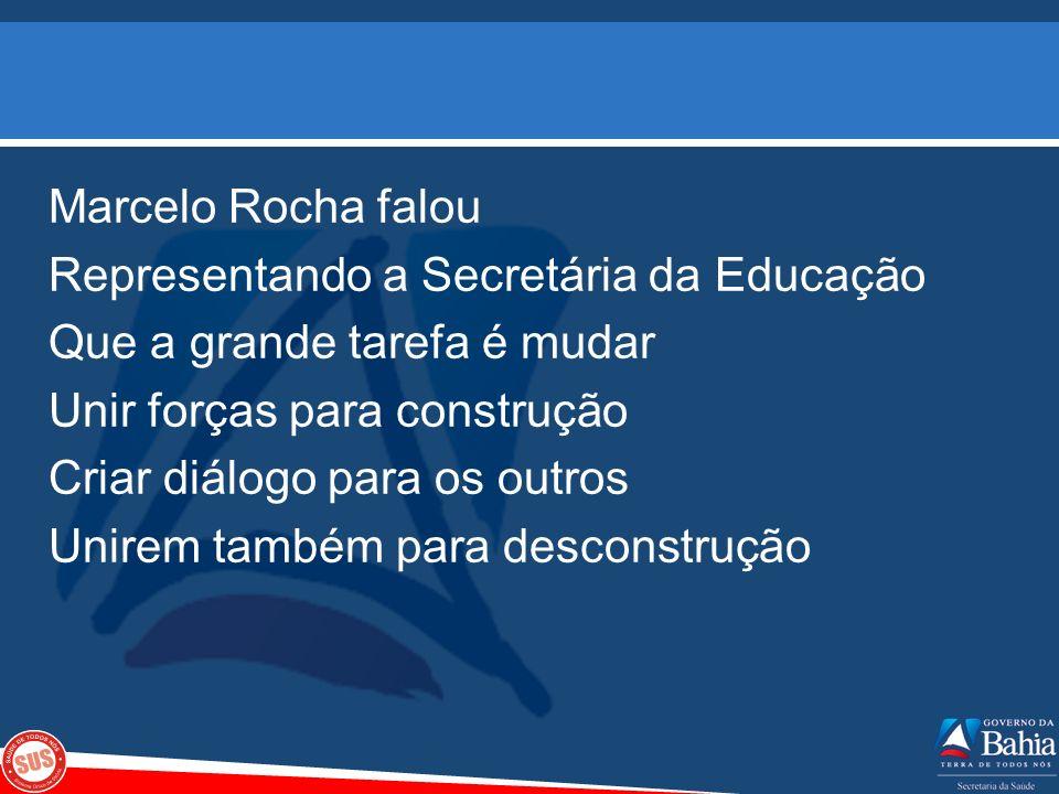 Marcelo Rocha falou Representando a Secretária da Educação Que a grande tarefa é mudar Unir forças para construção Criar diálogo para os outros Unirem também para desconstrução