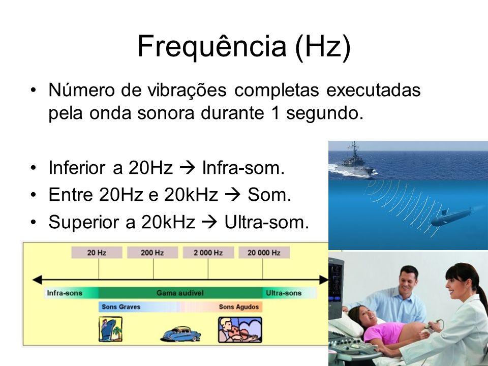 Frequência (Hz) Número de vibrações completas executadas pela onda sonora durante 1 segundo. Inferior a 20Hz Infra-som. Entre 20Hz e 20kHz Som. Superi