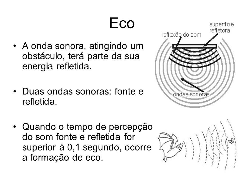 Eco A onda sonora, atingindo um obstáculo, terá parte da sua energia refletida. Duas ondas sonoras: fonte e refletida. Quando o tempo de percepção do