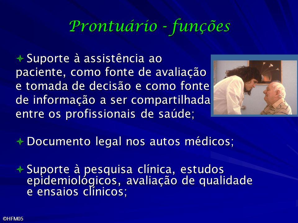 ©HFM05 Prontuário - funções Suporte à assistência ao Suporte à assistência ao paciente, como fonte de avaliação e tomada de decisão e como fonte de in