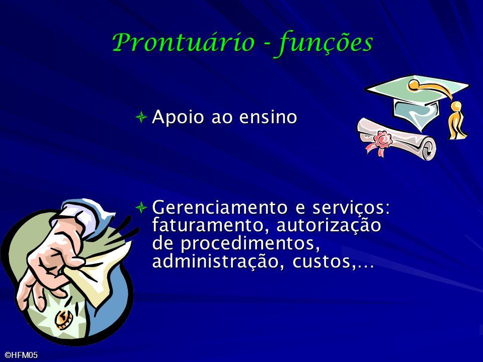 ©HFM05 Prontuário - funções Apoio ao ensino Apoio ao ensino Gerenciamento e serviços: faturamento, autorização de procedimentos, administração, custos
