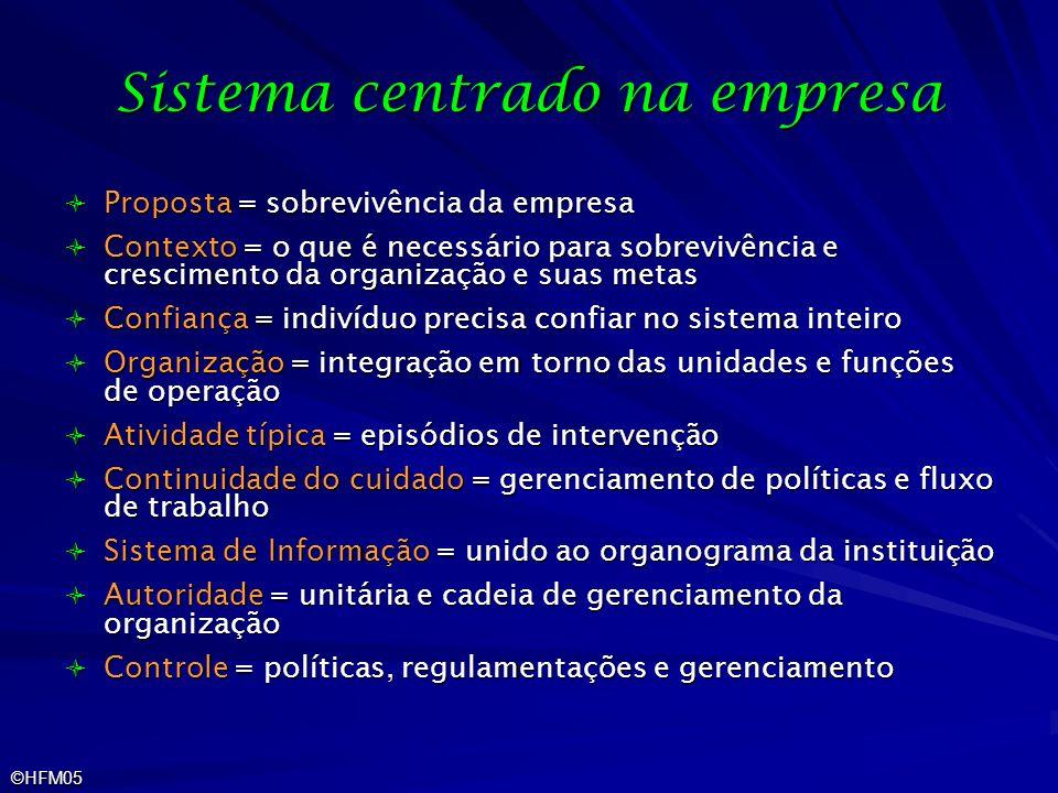 ©HFM05 Sistema centrado na empresa Proposta = sobrevivência da empresa Proposta = sobrevivência da empresa Contexto = o que é necessário para sobreviv