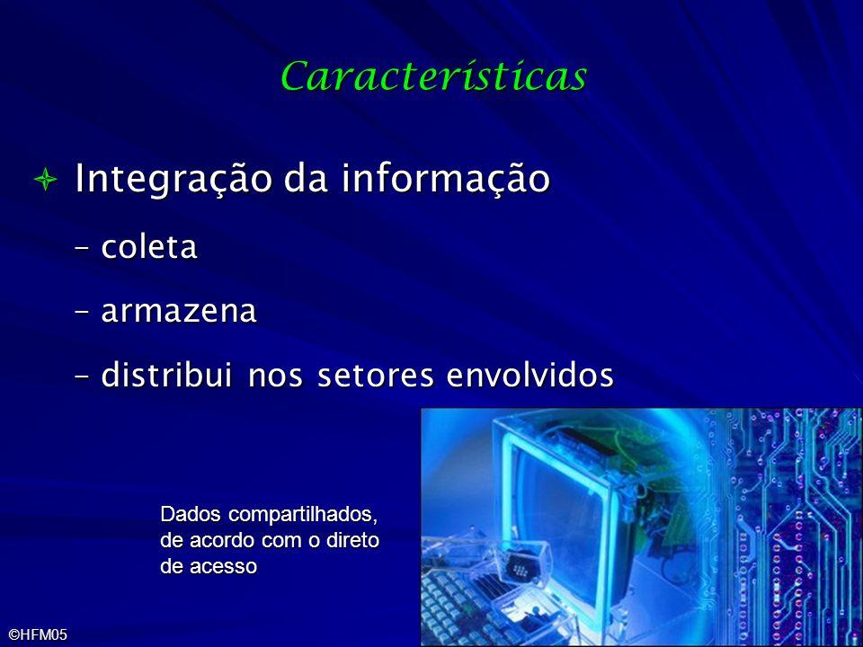 ©HFM05 Características Integração da informação Integração da informação –coleta –armazena –distribui nos setores envolvidos Dados compartilhados, de