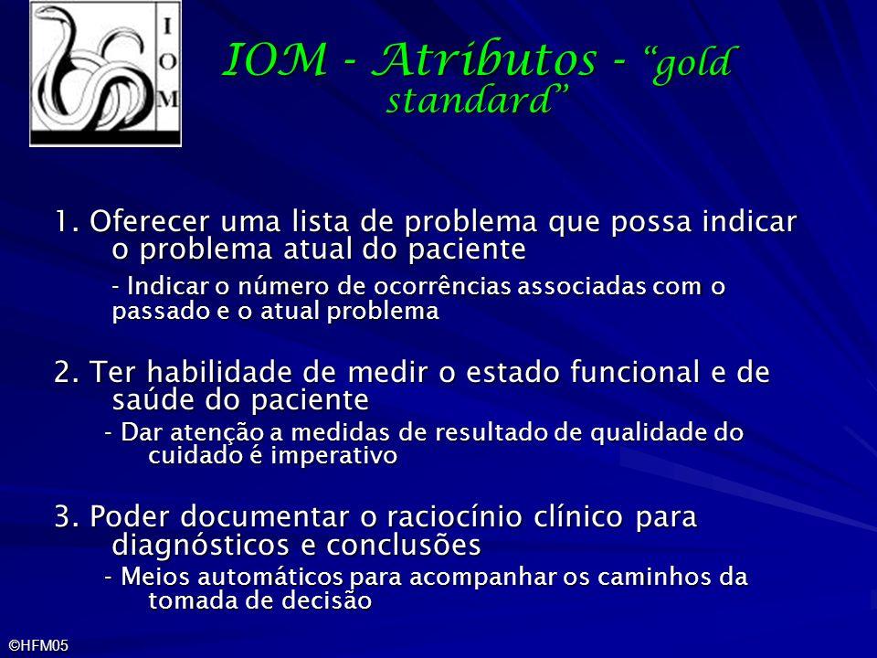 ©HFM05 IOM - Atributos - gold standard 1. Oferecer uma lista de problema que possa indicar o problema atual do paciente - Indicar o número de ocorrênc