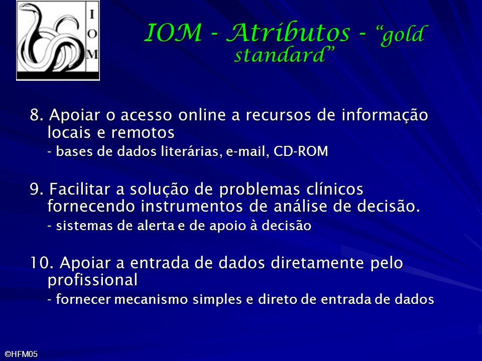 ©HFM05 IOM - Atributos - gold standard 8. Apoiar o acesso online a recursos de informação locais e remotos - bases de dados literárias, e-mail, CD-ROM