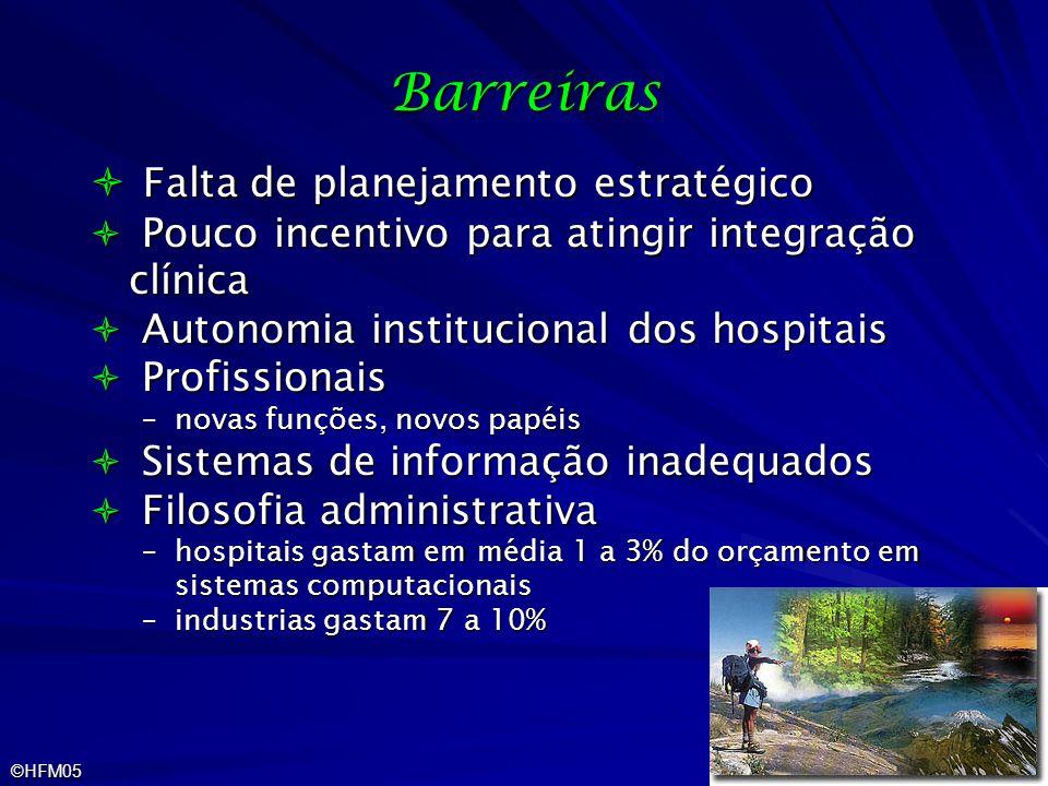 ©HFM05 Barreiras Falta de planejamento estratégico Falta de planejamento estratégico Pouco incentivo para atingir integração clínica Pouco incentivo p