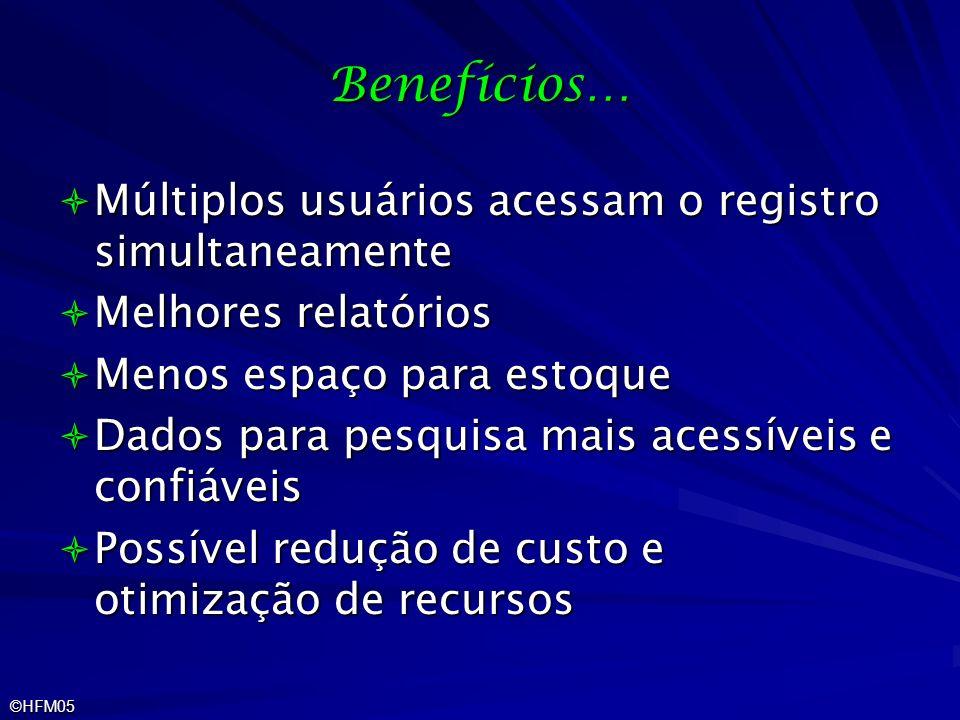 ©HFM05 Benefícios… Múltiplos usuários acessam o registro simultaneamente Múltiplos usuários acessam o registro simultaneamente Melhores relatórios Mel
