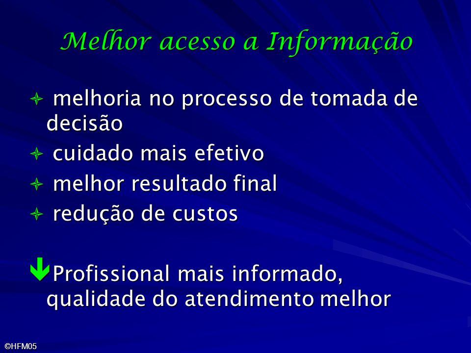 ©HFM05 Melhor acesso a Informação melhoria no processo de tomada de decisão melhoria no processo de tomada de decisão cuidado mais efetivo cuidado mai