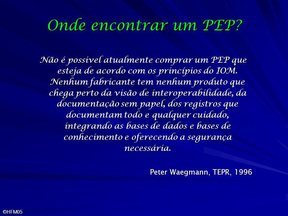 ©HFM05 Onde encontrar um PEP? Não é possivel atualmente comprar um PEP que esteja de acordo com os princípios do IOM. Nenhum fabricante tem nenhum pro