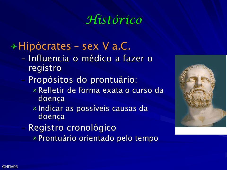 ©HFM05 Histórico Hipócrates – sex V a.C. Hipócrates – sex V a.C. –Influencia o médico a fazer o registro –Propósitos do prontuário: Refletir de forma