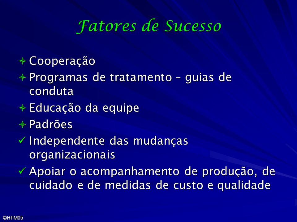 ©HFM05 Fatores de Sucesso Cooperação Cooperação Programas de tratamento – guias de conduta Programas de tratamento – guias de conduta Educação da equi