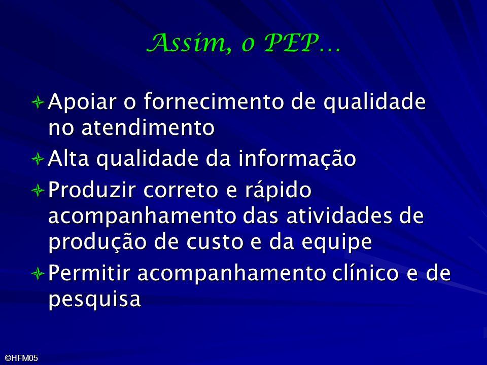 ©HFM05 Assim, o PEP… Apoiar o fornecimento de qualidade no atendimento Apoiar o fornecimento de qualidade no atendimento Alta qualidade da informação