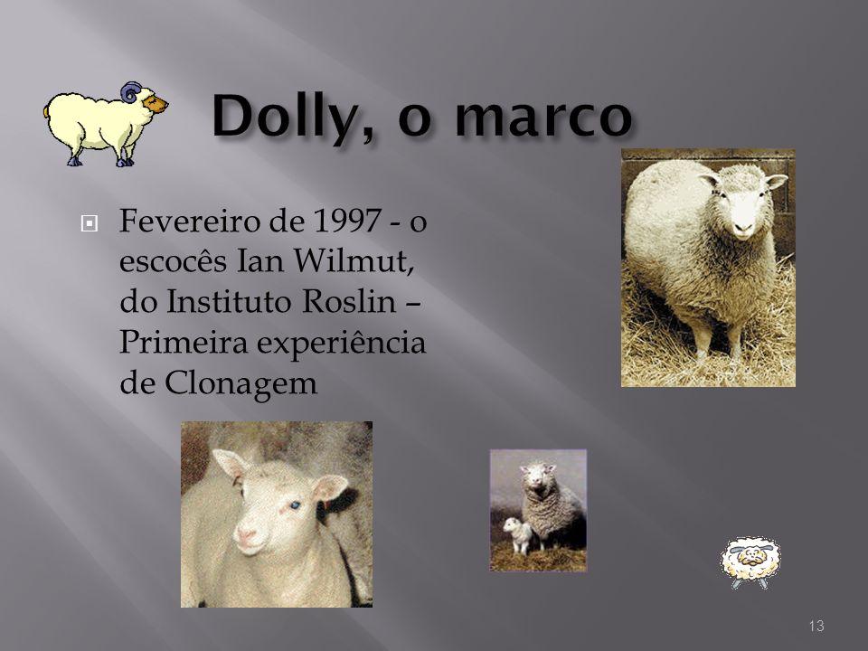 Fevereiro de 1997 - o escocês Ian Wilmut, do Instituto Roslin – Primeira experiência de Clonagem 13